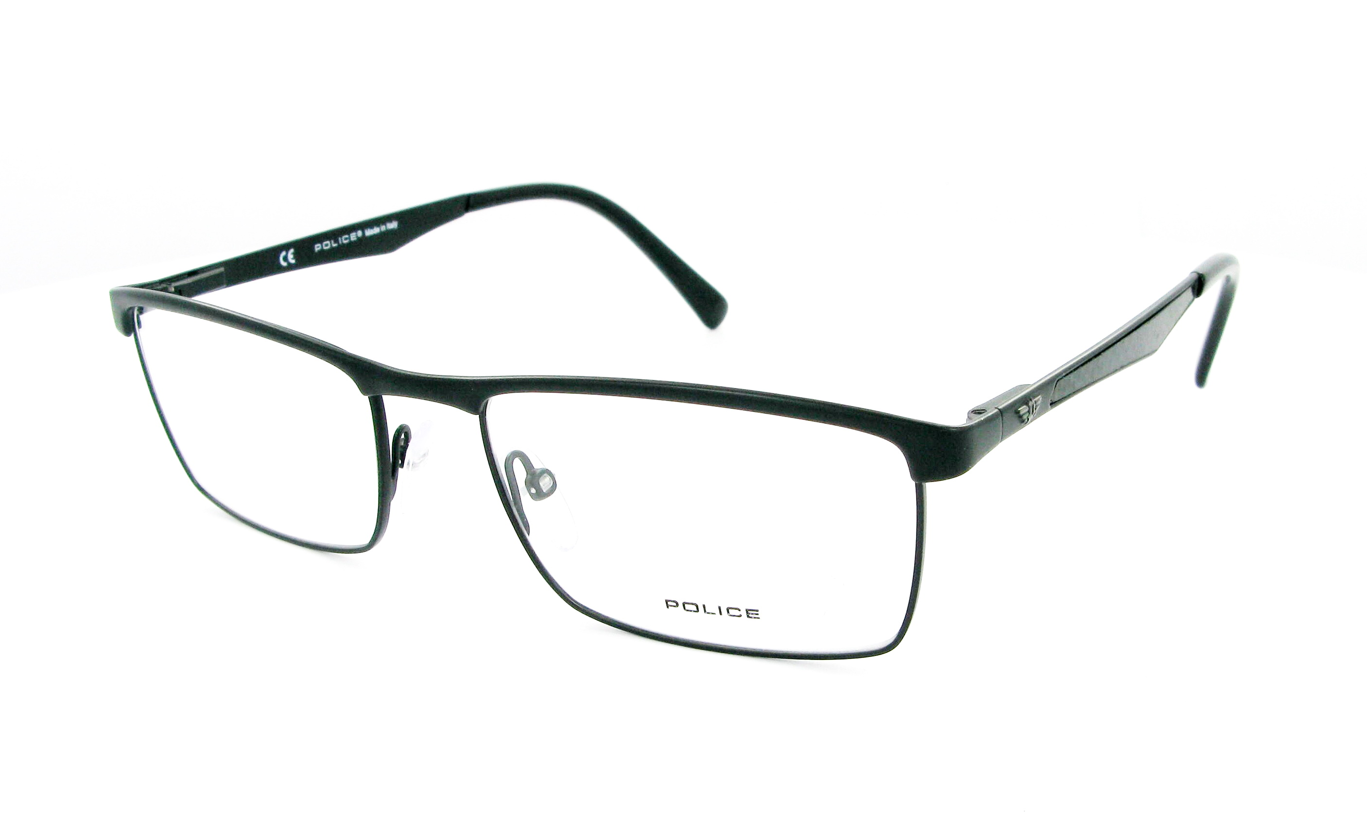 Eyeglasses POLICE V8733 0599 55/17 Man Noir Mat rectangle ...